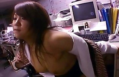 Yuki Ooe Asian is fucked from behind at job and gets cum on ass