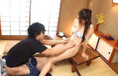 Maki Hokujo Asian cutie flirts with her guy before a blowjob