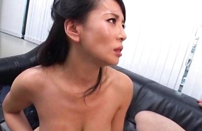 Japanese AV Model gets cum on round boob after is fucked by boss