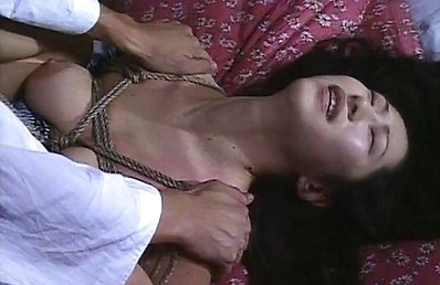 Ayane Yuki Asian with big melons in ropes has nipples squeezed