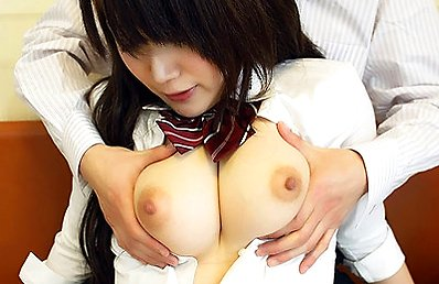 Yukari exposes her pair of natural boobies while a cock goes inside her hairy cunt