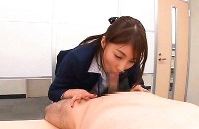 Arisu Miyuki Asian in tight skirt licks boss nipples and tool