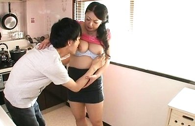 Ayano Murasaki Japanese milf gets big tits felt up in the kitchen