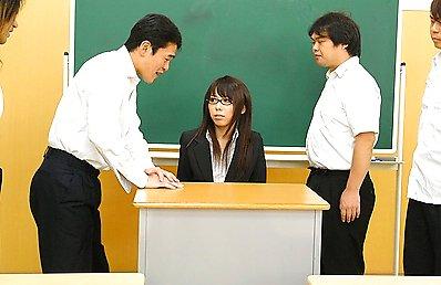 Geeky Japanese teacher blows a load of cocks
