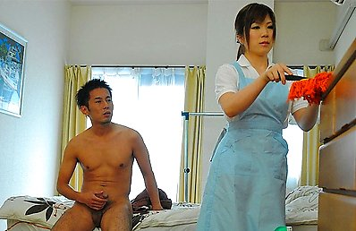 Hot housemaid Nana Oshikiri gets a creampie