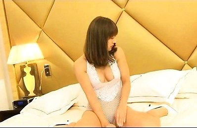 Emi Segawa Asian on heels touches her crack over white lingerie