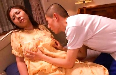 Sakiko Mihara Asian in pyjamas is horny and kisses guy to get it