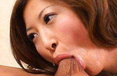 Chihiro Hara Asian sucks balls and sticks cock in her poonanie