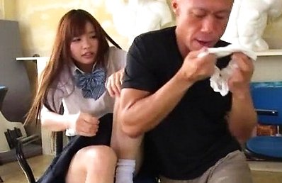 Mei Hayama Asian has panty smelled by man licking her hairy cunt