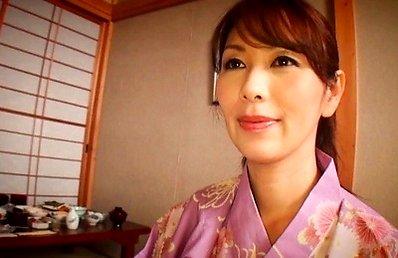 Chisato Syouda Asian undresses kimono, shows boobs and rubs cock